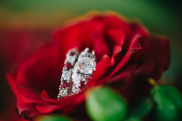 Rose ruby diamond wedding