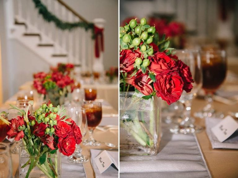 Red and green wedding centerpieces