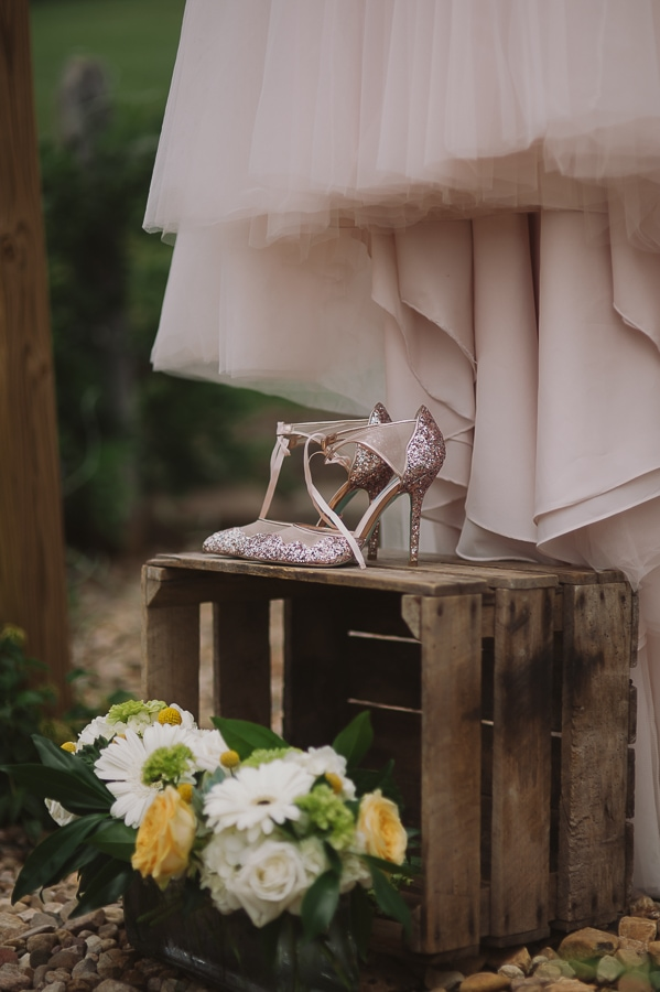Brides glitter shoes and gown