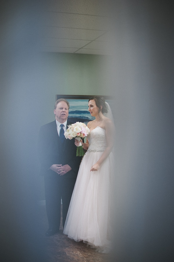 Krystina and father before wedding ceremony