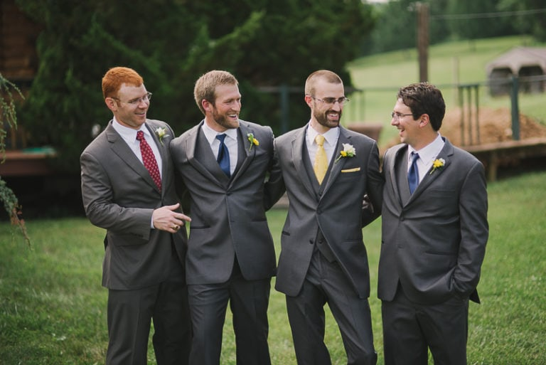 Nick - groom and groomsmen in grey suits