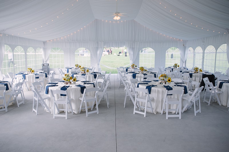 Reception decorations - sunflowers and navy blue