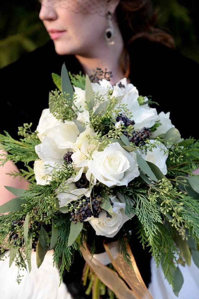 white roses winter wedding