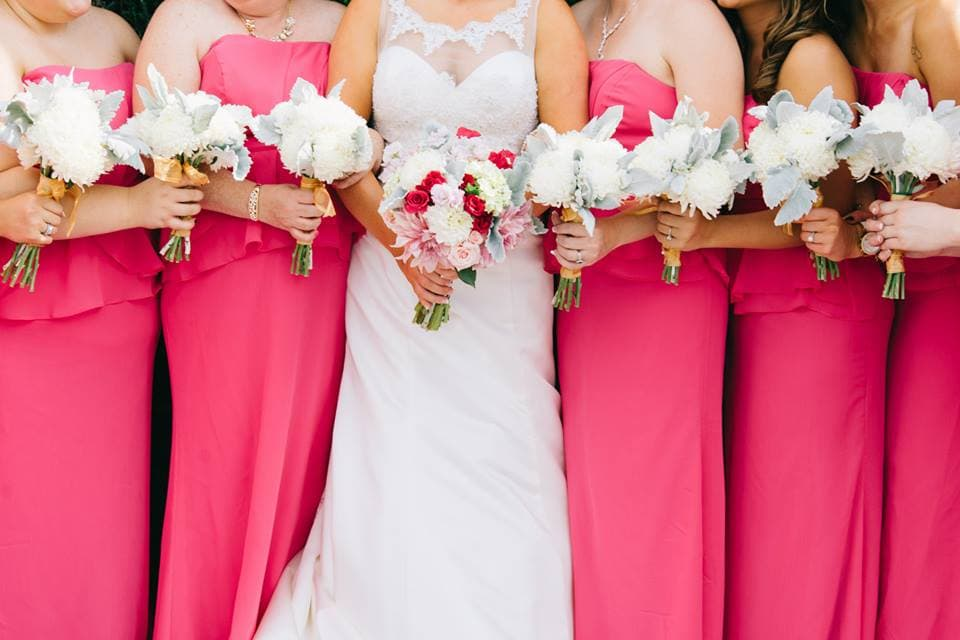 Bright pink bridesmaids