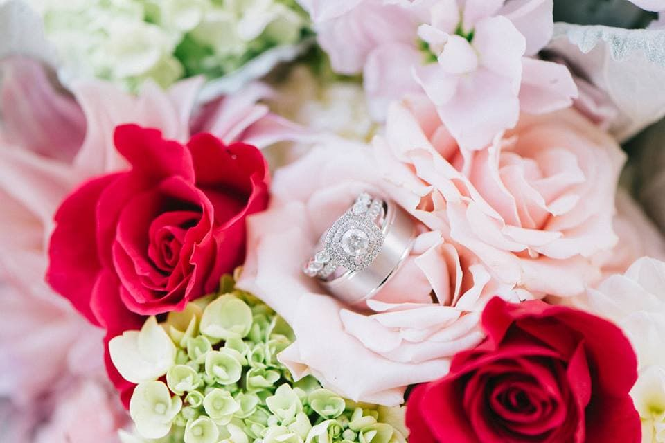 Roses and diamond wedding bands