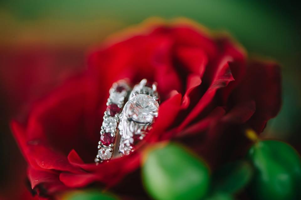 Rose ruby diamond wedding