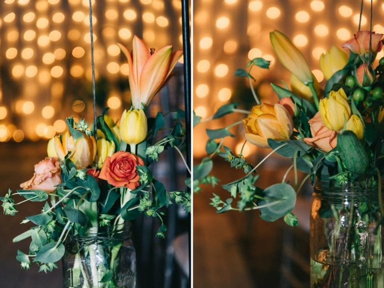 Lilys and roses in mason jar