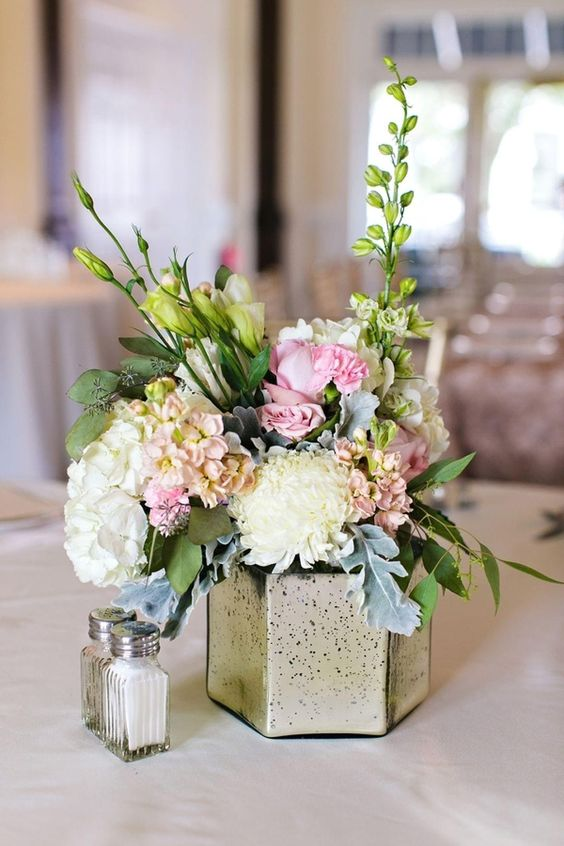 Reception dinner table flower centerpieces