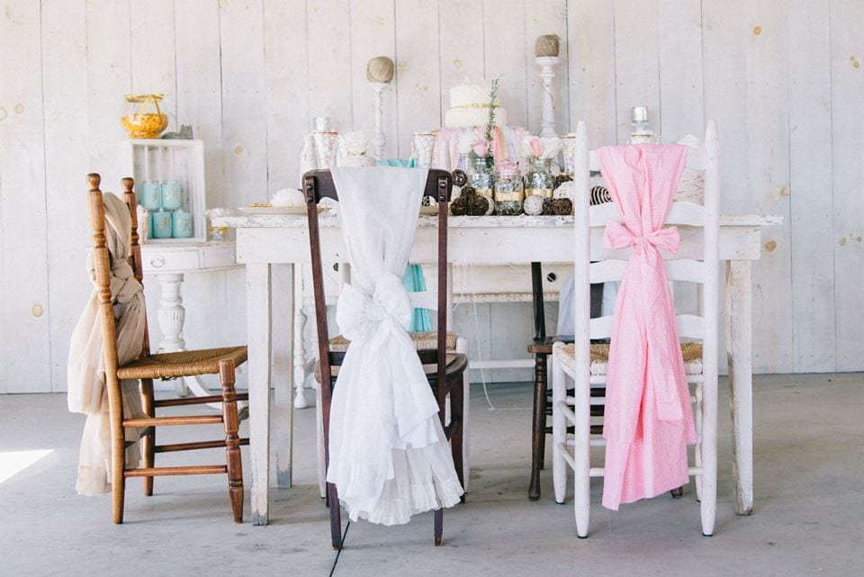 Pink and white on chairs