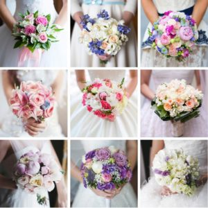 a grid of 9 bridal bouquet